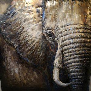 Metaal 3D schilderij Olifant
