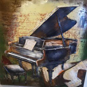 Metaal 3D schilderij Piano