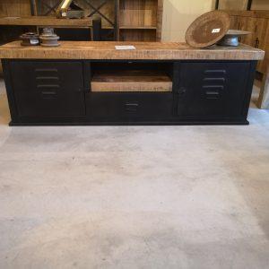 tv-meubel-Lilli-155-zwart-metaal-mangohout