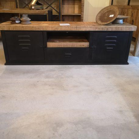 tv-meubel-Lilli-150-zwart-metaal-mangohout