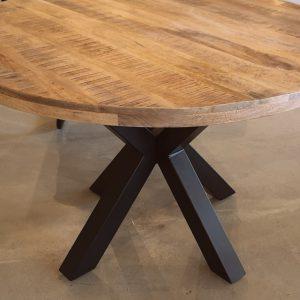 Ronde tafel mangohout/metaal