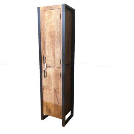 Wandkast mangohout metaal 2 deurs pip